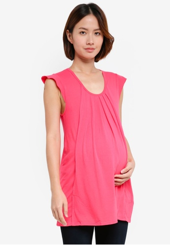 Spring Maternity pink Maternity Knitted Briar Drape Top 4B379AA6736382GS_1