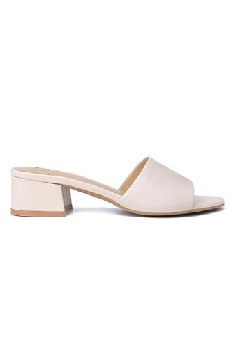 Byford beige Claribet Open Toe Heel Slide Sandals CF119SH8461247GS_1