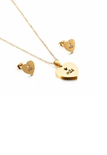 Glamorousky 銀色 簡約浪漫鍍金色mom心形316L鋼項鏈和耳釘套裝 5C11AACA4808CCGS_1