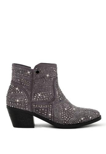 London Rag grey Studded Ankle-Length Boots SH1704 E41F8SH8CCB08DGS_1