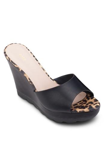 動物紋邊飾寬帶楔esprit cn型鞋, 女鞋, 鞋