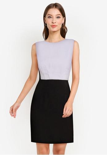 ZALORA WORK black and grey Contrast Panel Dress E1071AA3D9996CGS_1