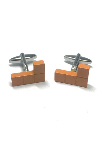 Splice Cufflinks Retro Computer Block Game Yellow Cufflinks SP744AC33ABISG_1