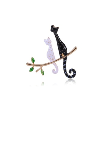 Glamorousky silver Fashion Simple Plated Gold Black and White Cat Brooch 78B02AC9855689GS_1