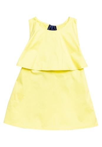 Andi + Olivia yellow Open Back Layered Dress E432CKA181570EGS_1