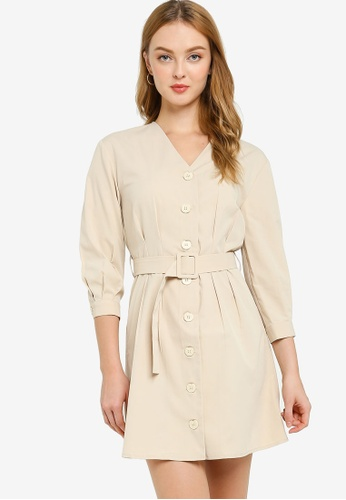 ZALORA WORK beige Button Down Dress With Belt 94411AAAEDD0AEGS_1