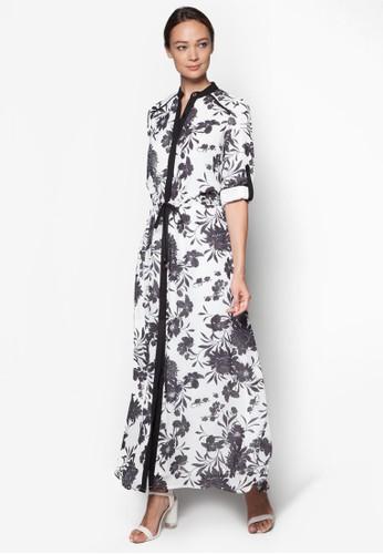 zalora 折扣碼花卉印花襯衫式長洋裝, 服飾, 長洋裝