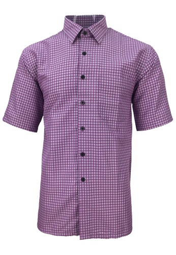 Pacolino pink Pacolino - Korea Polynosic Wrinkle Free Checker Formal Casual Short Sleeve Men Shirt 829C6AA832A020GS_1