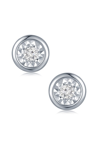 Mabelle Silver 18k White Gold Clic Simple Single Diamond Stud Earrings Ma584ac2w73ehk 1
