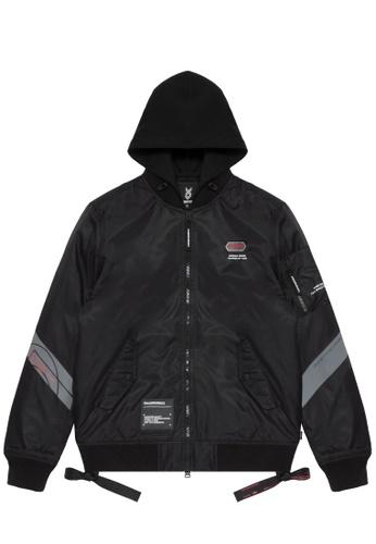 Fingercroxx black Hooded taped zip jacket 13069AA1C0CF11GS_1