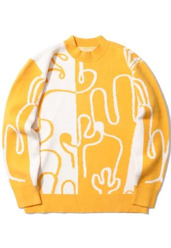 GREENISHPINK yellow Colour block intarsia sweater. 37E1DAA53C4870GS_1