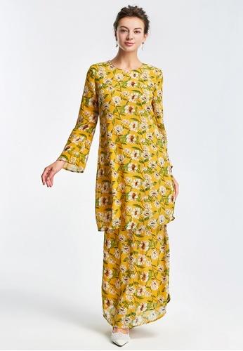 Era Maya yellow Prairie Moon Floral Baju Kurung Chiffon in Yellow 14810AA1F23A95GS_1