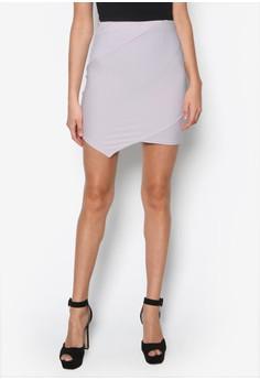 Ribbed Asymmetric Mini Skirt