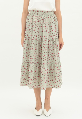 Love Knot green Willow Layered Hem A-line Skirt (Green) EA912AADC08196GS_1