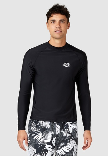 Piping Hot black Logo Printed Long Sleeve Sunsafe Sustainable Rash Vest 1D808US63A1248GS_1