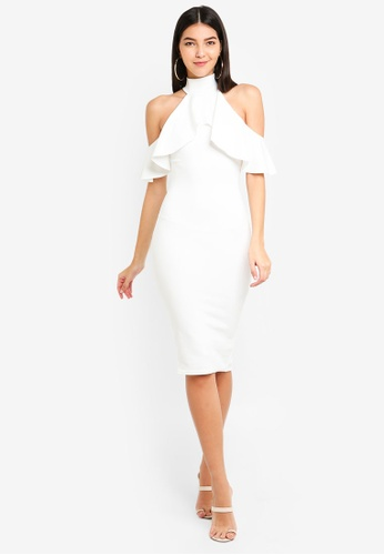 a7f1c6b2b6 Buy MISSGUIDED High Neck Frill Cold Shoulder Midi Dress Online on ZALORA  Singapore