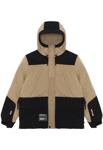 Fingercroxx beige Panelled hooded jacket 2F2ACAAA30B869GS_1