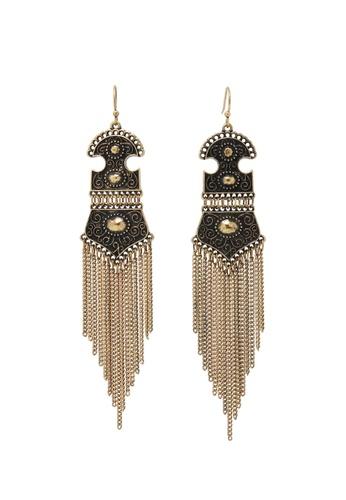 Jaysa Collection gold Amazonian Tassel Earrings JA875AC0F7HRSG_1