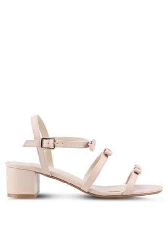 Velvet beige Heeled Sandals With Bow Straps 4CAFESH6C11CF0GS 1