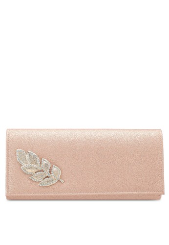 Unisa brown Glittering Stones Embellishment Faux Leather Dinner Clutch 996A8AC57BDF62GS_1