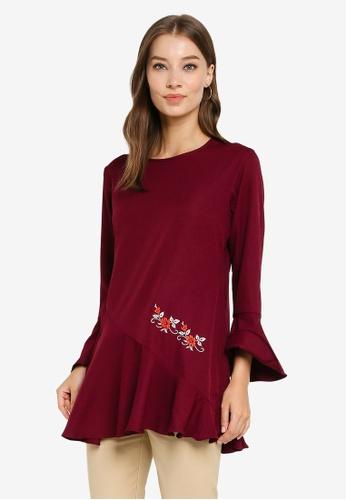 Aqeela Muslimah Wear purple Floral Embroidered Top 2EF4CAA6C764E3GS_1