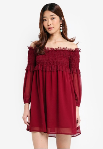 Something Borrowed red Lace Smocked Off Shoulder Dress 3065EAA0EB95B8GS_1