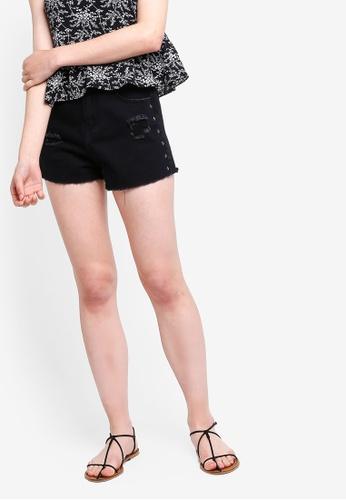 Something Borrowed black Star Studded Denim Shorts F1DE9AA860AA27GS_1