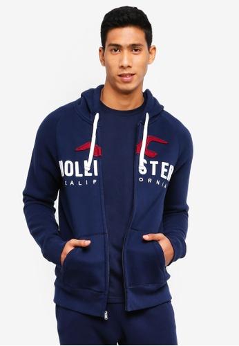 Hollister 海軍藍色 LOGO連帽外套 E1D00AA38B6229GS_1