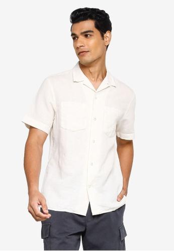 Banana Republic beige Short Sleeve Camp Linen Shirt 79B90AAA2E80E4GS_1