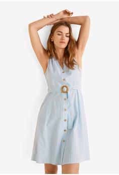 ca0ed1a5c6d Mango blue Belt Linen Dress A4BADAAE81F8CAGS 1