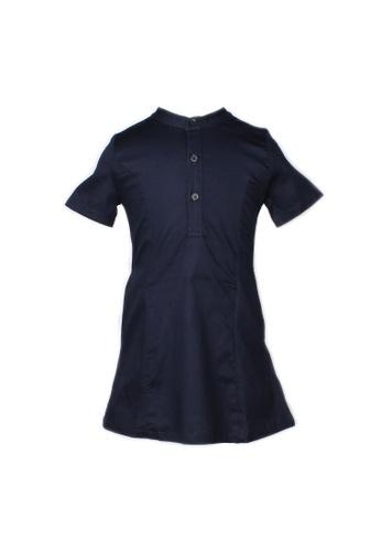 Mini Moley navy Brushed Cotton Half-Button Down Dress D52F4KA04CE033GS_1