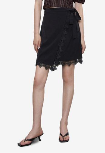 URBAN REVIVO black Lace Wrap Skirt 19D33AA3AE1F93GS_1