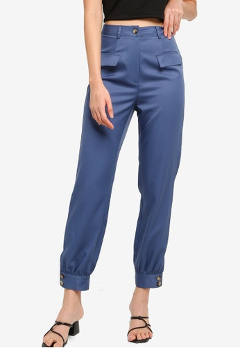 ZALORA BASICS blue Cuff Hem Trousers 229A0AAC72E125GS_1