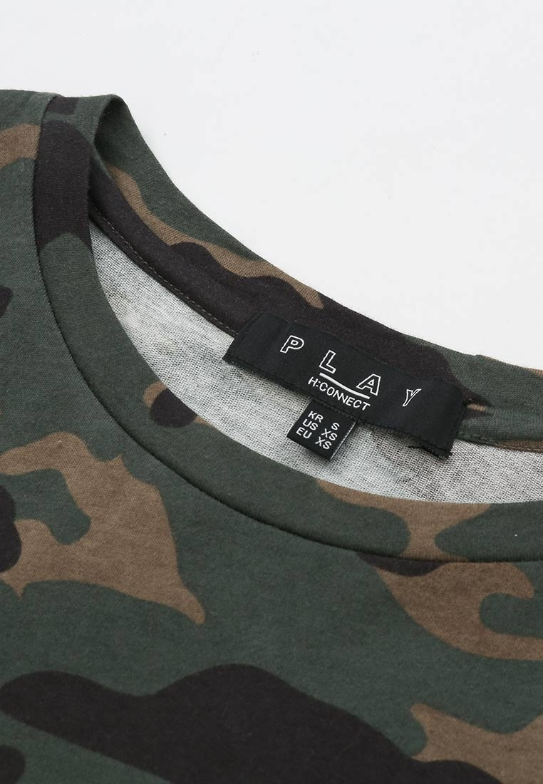 CONNECT H Camo T Black Shirt crew neck fRRdxHwq
