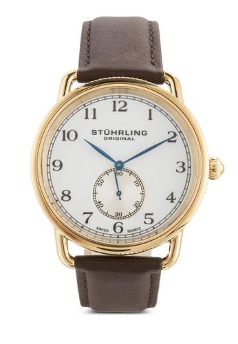 Stuhrling Original 20esprit分店7.03 Classic Cuvette 真皮手錶, 錶類, 飾品配件