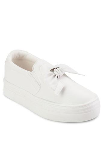 抓褶蝴蝶esprit outlet hk結皮革厚底懶人鞋, 女鞋, 鞋