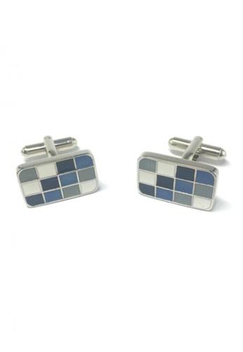 Splice Cufflinks multi Blue, Grey and White Squares Rectangular Cufflinks  SP744AC51EMYSG_1