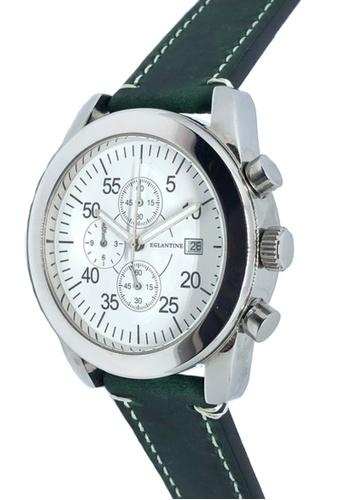 EGLANTINE green and silver EGLANTINE® Aviator II Unisex Stainless Steel Quartz Chrono Watch White Dial on Dark Green Leather strap 18FDEACD309109GS_1