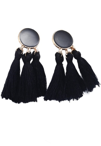 Sunnydaysweety black Tassel Drop Earrings CA030207BK 59BDBAC0C4DB4FGS_1
