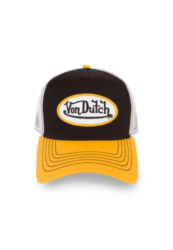 Von Dutch black and white and yellow and multi Von Dutch Black & Yellow Trucker Cap 54B63ACC0476B4GS_1