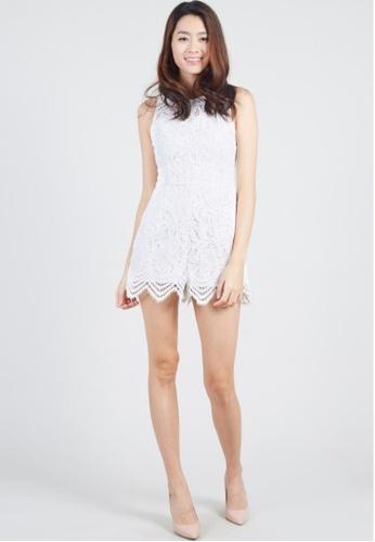 Moss Fashion white Kalie Romper in Lace C8E53AA4E399F5GS_1