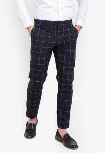 MANGO Man navy Slim-Fit Check-Print Trousers 29382AAD2D8672GS_1