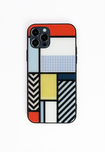 House of Avenues multi Color Block Memphis Pattern Tempered Glass Shell Phone Case For iPhone 12 Pro 993E0AC9C88BB0GS_1