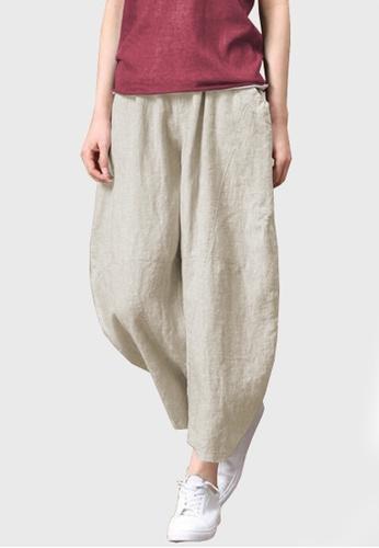 Twenty Eight Shoes beige VANSA Cotton Linen High Waist Wide-leg Pants  VCW-P73983269 6B4A6AA340AFF3GS_1