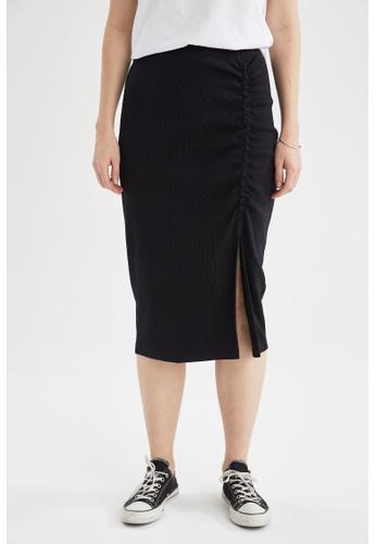 DeFacto black Slit-Front Midi Skirt C771EAAC9A30B1GS_1