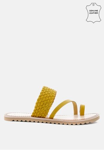 RAG & CO 黃色 编织皮革平底凉鞋 3DC3DSH189EE15GS_1