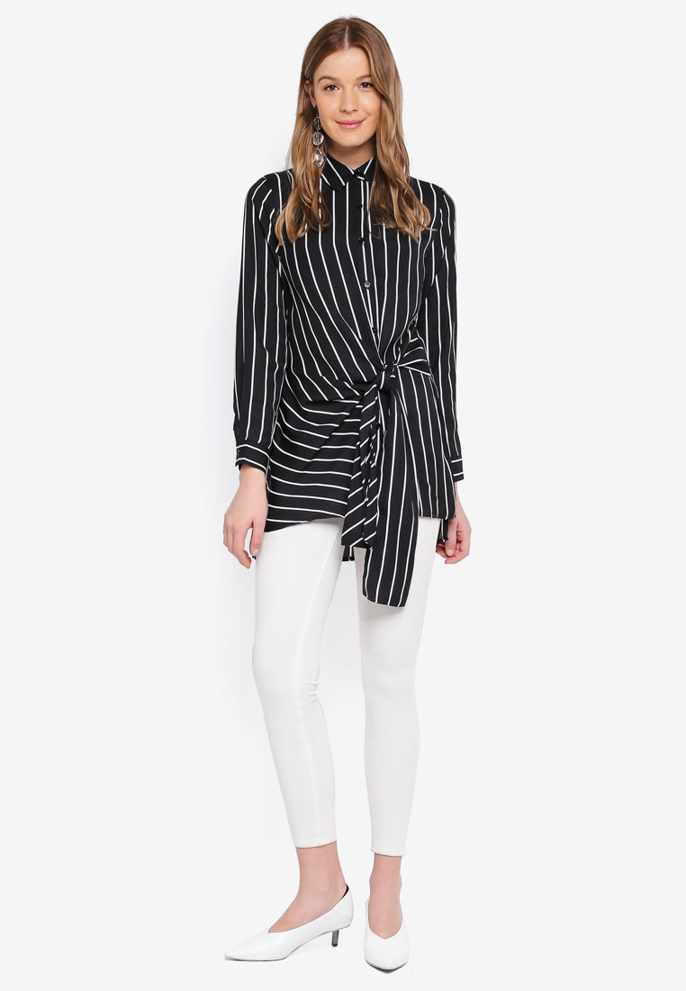 Front Blouse Black Angeleye Twist Collared Striped 81qvE