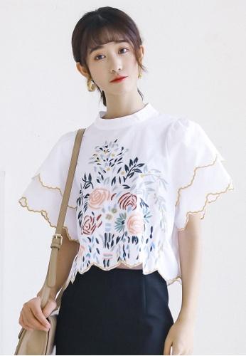 Shopsfashion white Illusion collar Embroidery Blouse  SH656AA0G4VQSG_1