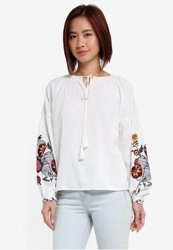 ZALORA white Long Sleeve Top With Floral Embroidery 74640AA9633FE1GS_1