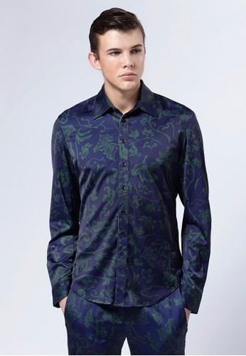 Life8 x Daniel Wong。圖紋絲感esprit女裝襯衫-03656-藍色, 服飾, 印花襯衫